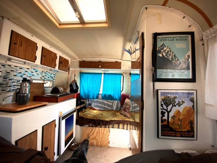 Scamp small camper interior looking back