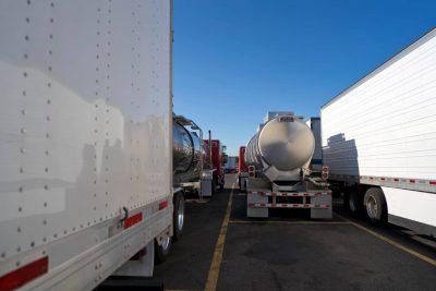 Semi trucks parked at truck stop