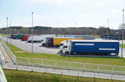 Semis parked at rest area