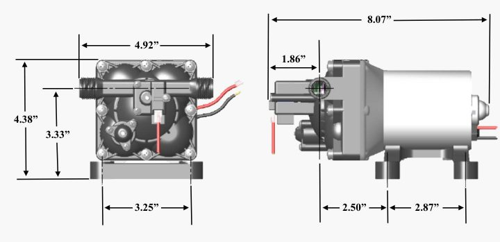 Shurflo 4008 RV water pump dimensions