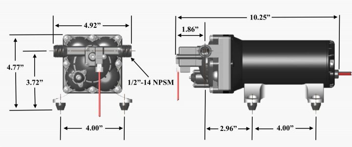 shurflo rv water pump 4048 dimensions