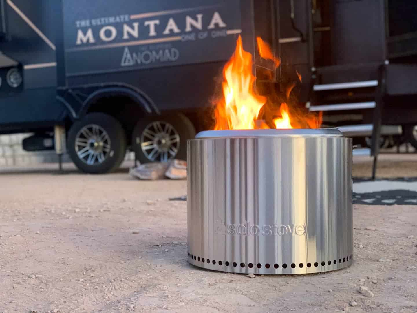 Solo Stove wood fire pit in use