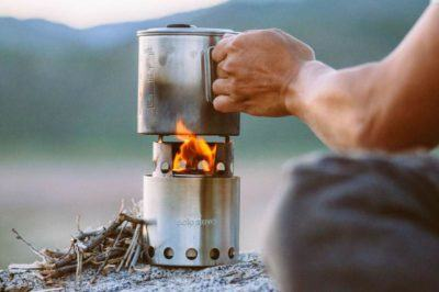 Solo stove in use