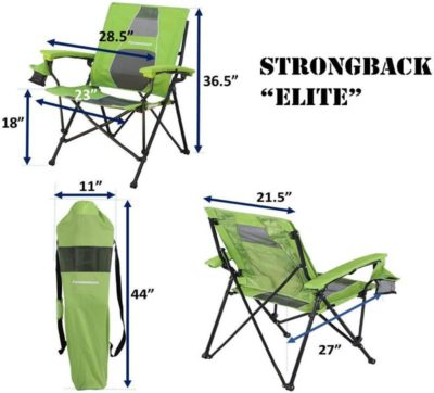 Strongback Elite camp chair dimensions