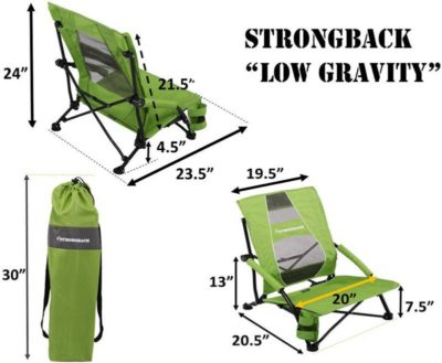 Strongback Low Gravity beach chair dimensions