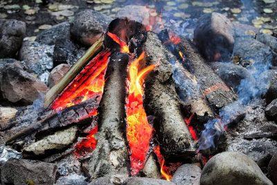 Teepee style fire burning