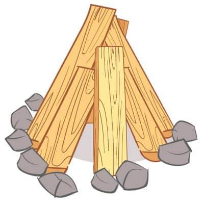 Teepee style wood fire illlustration
