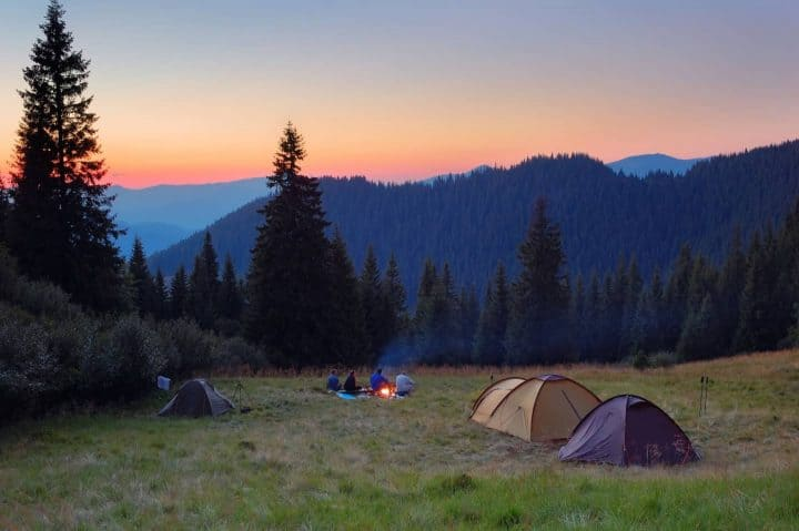 Tent camping with mountain view