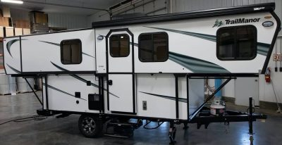 TrailManor hard sided pop up camper open position