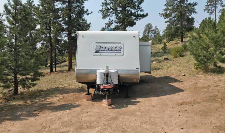 Travel trailer at unlevel campsite