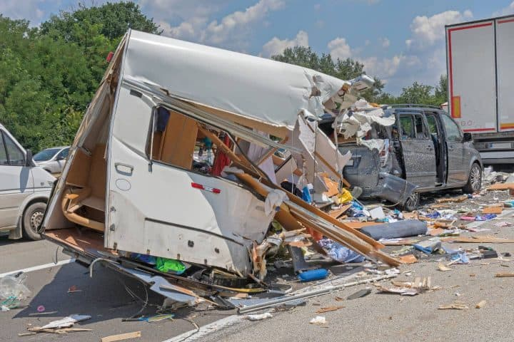 Travel trailer crash