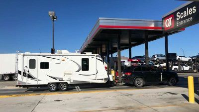 Travel trailer on commercial scale