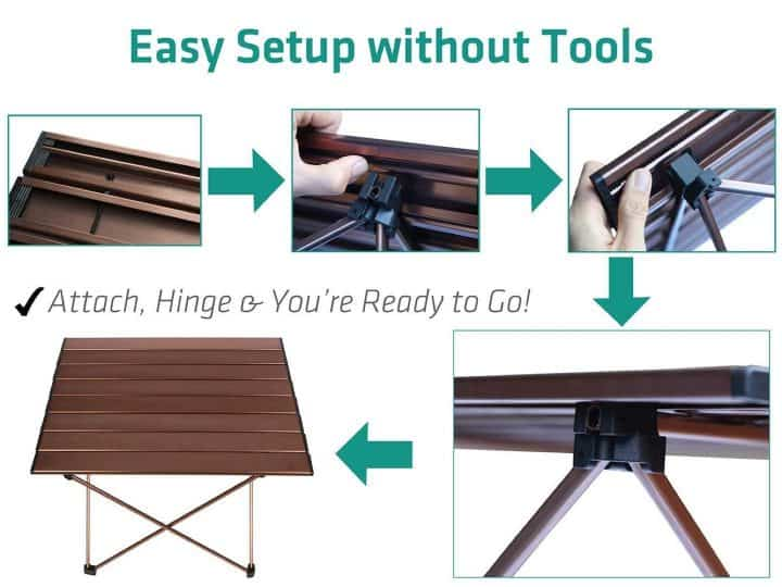 Trekology portable camping table assembly