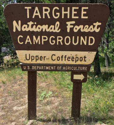 Upper Coffeepot National Forest campground sign