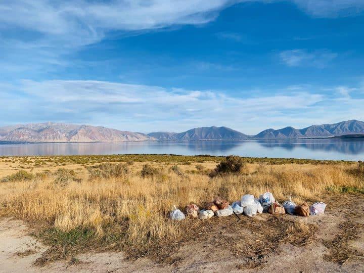 Utah Lake trash pickup pile