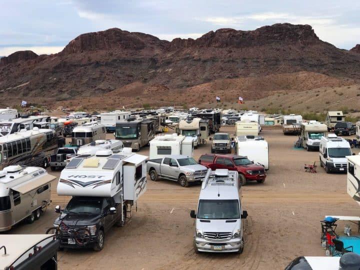 Variety of RVs parked 2019 Xscapers Bash Lake Havasu Arizona