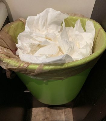 Waste basket full of used toilet paper