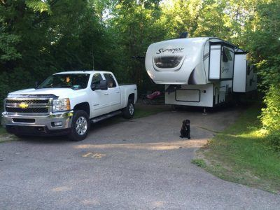Dog sitting in front of RV