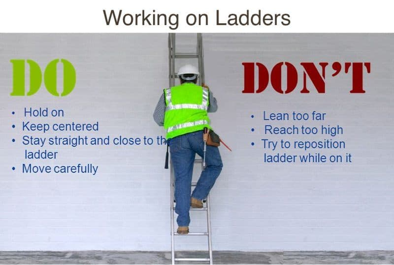 Working on ladders dos and donts