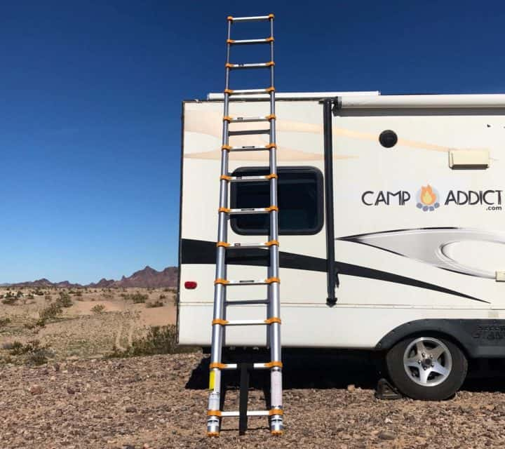 Xtend and Climb 770P telescoping ladder against kellys rig
