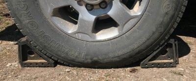 YM wheel chocks in use