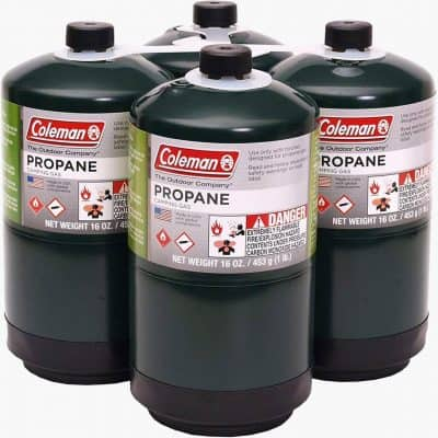 four propane tanks 1 lb