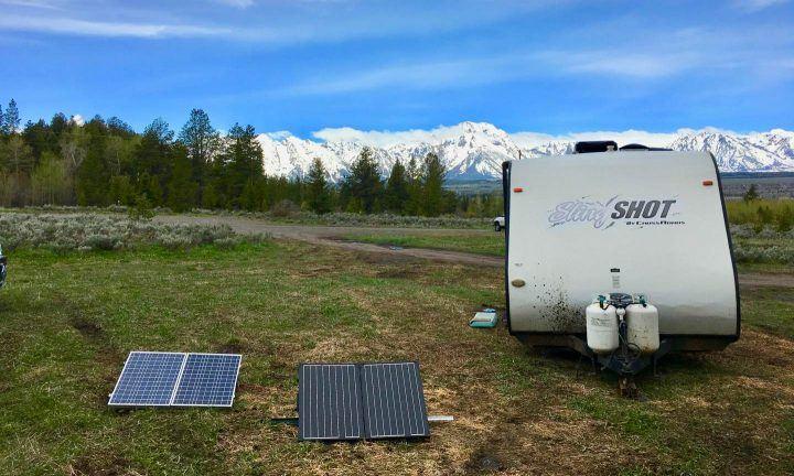 portable solar panels at the Tetons